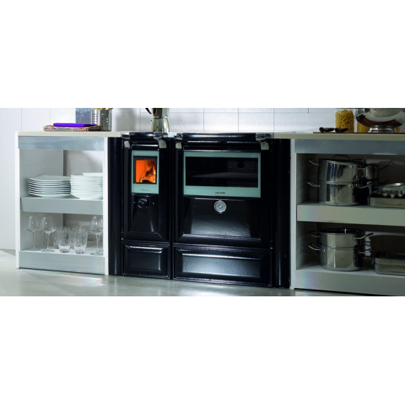 Cocina de leña Vulcano 8 con vitrocerámica