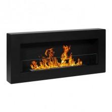 Biochimenea de pared con cristal BOX negra - El Club del Fuego